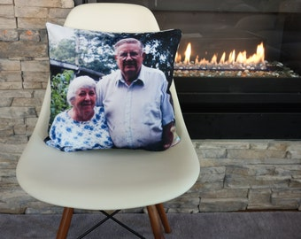 Sample personalized photo throw pillow cushion cover gift, Mother's Father's Day Graduation engagement anniversary birthday Christmas gift