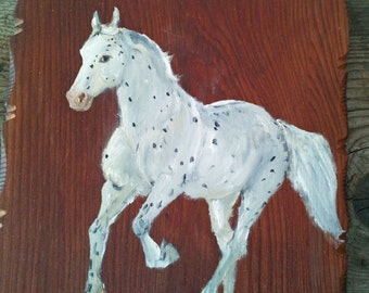 White spotted horse, original oil painting on salvaged wood, Commission