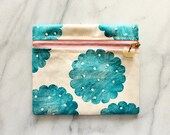 Fabric Pouch . Cosmetic Bag . Block printed . Handmade . Handprinted . One of a Kind