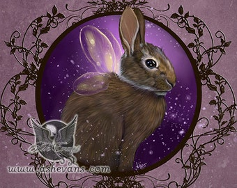 Ash Evans fairy Easter rabbit woodland art print