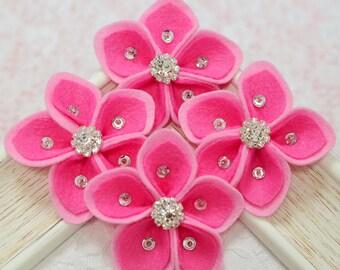New! 4pcs handmade felt flowers--dark carnation/baby pink(FT454)