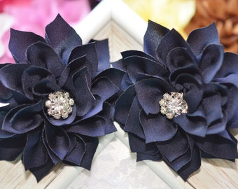 New! 2pcs Handmade Silk flowers--navy (FB1039)