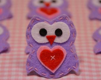 Set of 6pcs handmade felt owl--hyacinth (FT922)