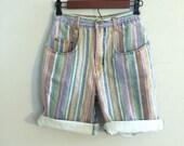 Stripped jean shorts / colors of the rainbow shorts / novelty print shorts colored denim shorts pinstripes