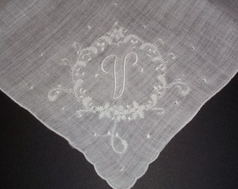 Vintage White Hanky with a White Initial V - Handkerchief Hankie