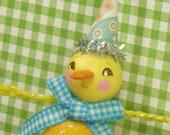 retro inspired Duck Easter ornament Spring decor Baby boy duck ornament ooak art doll vintage inspired