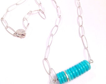 Turquoise Disc Necklace Sterling Silver Bead Roundels Blue Tuquoise Natural Turquoise