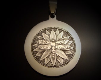 Hand Engraved Art Nouveau Dragonfly On A Flower In Stainless Steel Pendant