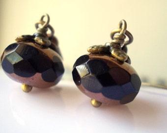 Black dangle earrings dainty black earrings fantasy woodland little small earrings rustic drop earring black glass bead antique brass bronze