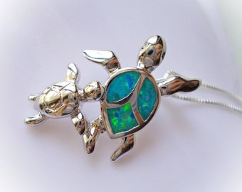 Sea Turtle Necklace mommy and baby blue fire opal charm necklace jewelry 925 sterling silver tortoise nautical for women pendant mom child