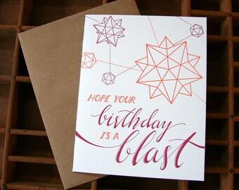 Birthday polyhedron letterpress card