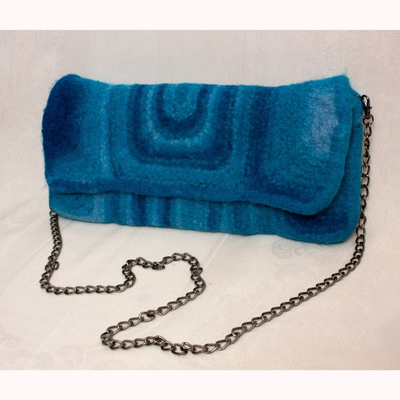 Felted Wool Clutch in Blue with Chain Handle Large Size
