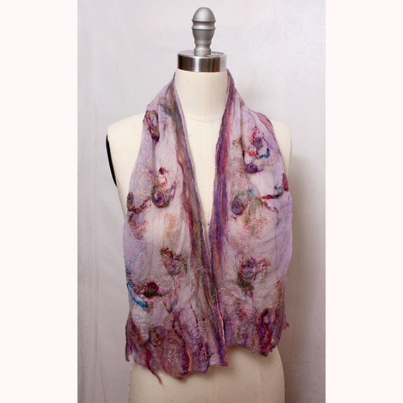 Nuno Felted Silk Scarf in Lavendar Art to Wear