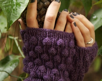 Knit mittens, fingerless gloves ,purple mittens,knited mitts, knitted gloves,textured pattern,bobbles pattern,knitted fingerless mittens