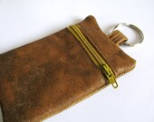 Change purse - ,Keychain Pouch, Recycled Leather, Wallet, tan leather, mustard zipper