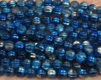 Czech Glass Beads, 8mm Melon, Capri Blue Silver, 25 Pc. C451