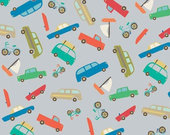 1 yard FLANNEL Scenic Route gray cars fabric from Riley Blake