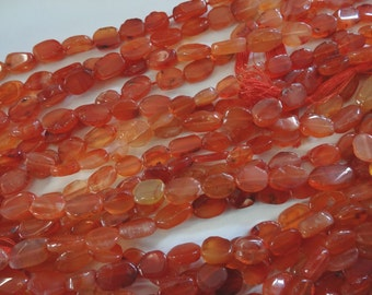 14 1/2 inch Strand Natural Carnelian Flat Oval 7 to 11mm Long Stone Beads A159