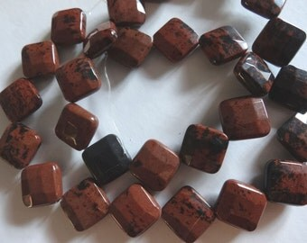 15 1/2 inch Strand Natural Mahogany Jasper Faceted Square Corner Drilled Stone Beads A500