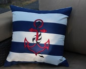 Nautical Stripe Outdoor Pillow with Anchor Embroidered on Front
