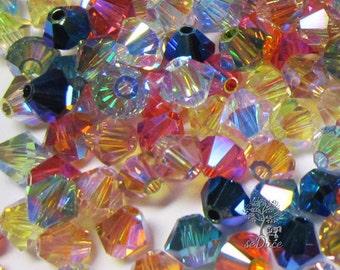 300 pcs Swarovski Crystal 5301/5328 4mm Bicone Beads AB2x New Color Mix Wholesale Destash