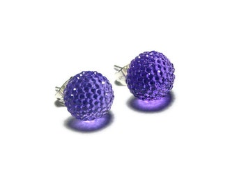 Purple Rhinestone Stud Earrings, Sparkly Round Resin Studs, Violet Post Earrings