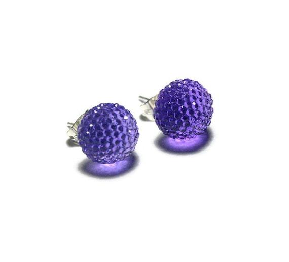 purple rhinestone stud earrings sparkly resin studs