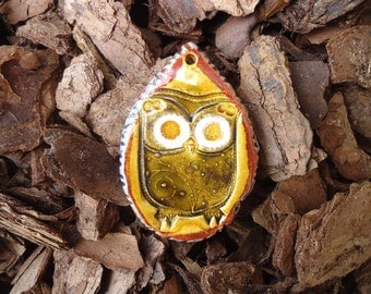Owl in a Teardrop Pendant