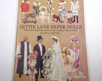 Vintage Paper Doll Book for Children Entitled Lettie Lane Paper Dolls Uncut
