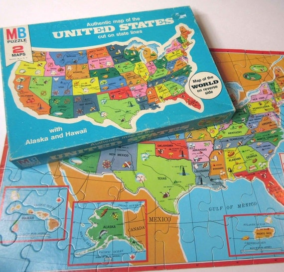Map Puzzle of the United States by Milton Bradley in ...