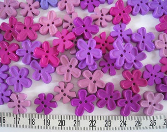30pcs of Flower Button - 18mm and 15mm  - Purple Tone