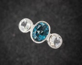 London Blue Topaz and White Topaz Ring, Oval Gemstone Ring, Recycled Sterling Ring Three Stone- Ready to Ship Size 7