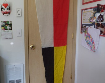 Vintage Nautical Signal Flag in Red White Yellow and Black Large Wall hanging Ship Pennant Flag Minimalist Decor Masculine Decor Nautical