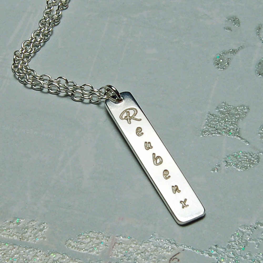 Personalized Sterling Silver Vertical Bar Necklace Nameplate