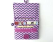 vegan wallet with coin pocket. cute purple card organizer zipper pouch. ladies pocketbook. small travel fabric grey chevron kawaii teen gift