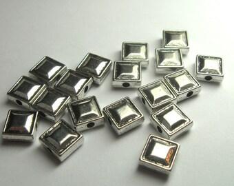 8mm Flat Beveled Square Beads - Qty 18