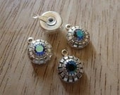 Vintage 2 Crystal AB Set Jewel Drop Pendant Charms C28