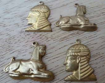 Vintage Brass Stamping, 1970s Egyptian Revival Designer Set of Sphinx and Pharaoh Charms and Drops, Unplated Jewelry Findings, 4 pcs. (C28)