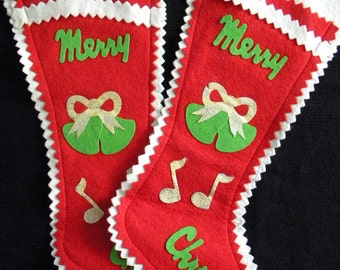 Vintage Pair of Christmas Stockings Felt with Glittery Musical Notes