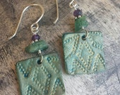 Turquoise Leather Earrings - Hand Tooled Earrings - Green Apatite - Ruby - Sterling Silver - Western Jewelry - Cowgirl Earrings