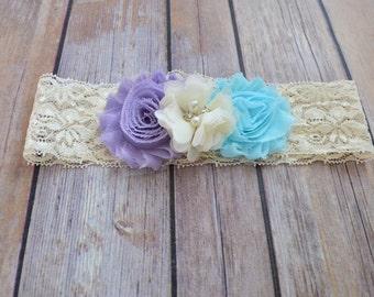 Lavender Aqua Blue Flower Lace Headband, Toddler Lace headband, Girls, Adult , headband, Flower girl headband, Wedding headpiece
