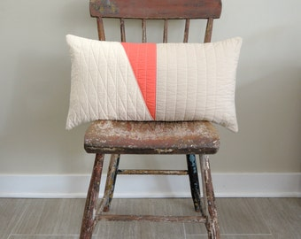 Modern Lumbar Pillow - Coral Triptych Lumbar