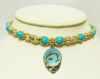 Grateful Dead Steal Your Dolphin  Hemp Choker Anklet Necklace  SYF  handmade macrame jewelry  hippie