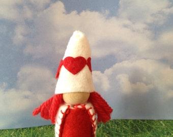Meet Little Valentine The Little Girl Valentine's Day Waldorf Gnomes Peg People Elf Love Hearts Heart