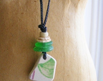 OCEAN TREASURES Necklace, nautical, shaman, Nova Scotia beach glass, Scottish sea pottery talisman, hippie boho tribal, antique trade beads