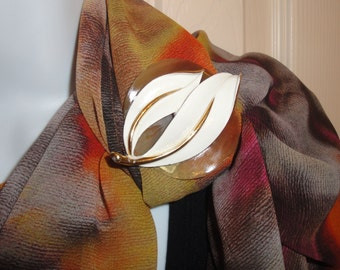 Magnetic Back Brooch from vintage Sarah Coventry leaf, Set on shell backing, Bonus abstract print scarf, Brown, orange, cream
