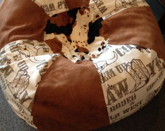 Western rodeo and faux suede and cow print bean bag chai