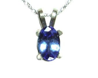Tanzanite white gold pendant and chain