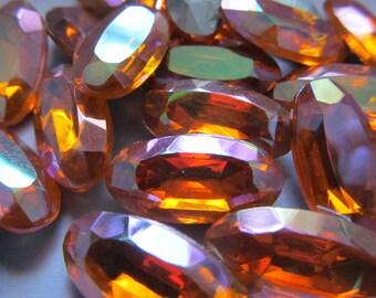 Vintage Tangerine AB Silver Foil Back Rhinestones (10)