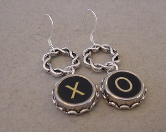 Typewriter Key Earrings X O HUGS and KISSES X O Dangle Earrings Typewriter Key Jewelry